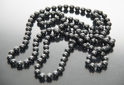 black bead necklace with spherical round onyx beads